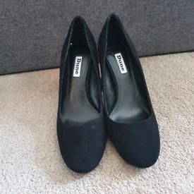Dune black suede heels size 38/5