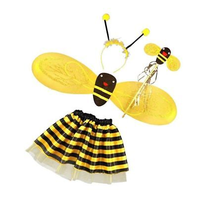 4Pc Bumble Bee Honey Girls Kids Fairy Halloween Fancy Dress Up Party Costum T7C2