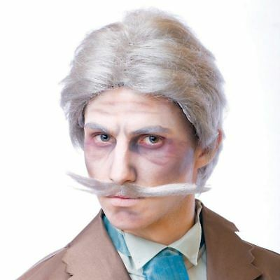 VICTORIAN GENTLEMAN GHOST SPIRIT DRESS UP GRAY COSPLAY COSTUME WIG AND MUSTACHE - Gentleman Ghost Costume