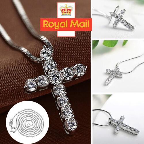 Jewellery - Crystal Cross Pendant Necklace 925 Sterling Silver Chain Women Jewellery Jesus C