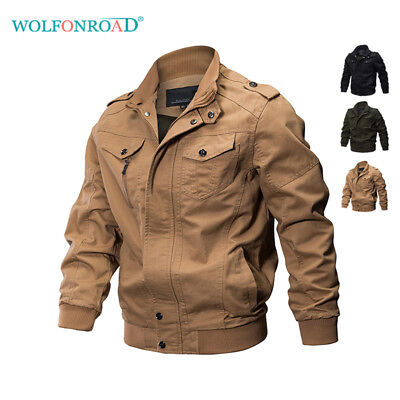 Military Motorcycle Jacket (Mens Bomber Jackets Military Zipper Casual Work Jacket Army Coat Motorcycle)