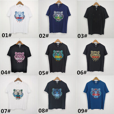 New Paris men and women same color tiger embroidery pure cotton T-shirt