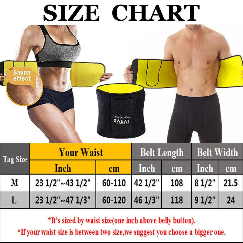 LARGE Slimming Shaper Belt Unisex Neoprene Wrap Sauna Waist Slimmer Fat Burning