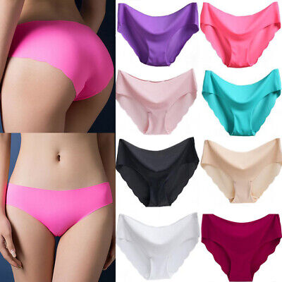 Women Seamless Ice Silk Thin Sexy Soft Briefs Hipster Panties Underwear - Women Ice