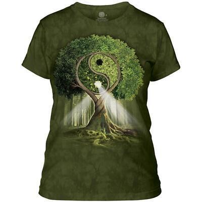 Yin Yang Grün T-shirt (Damen T-Shirt The Mountain® Artwear Yin Yang Tree grün   Gr. L)
