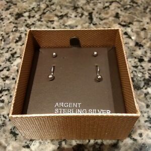 Argent Sterling Silver Stud and Dangling Earring Set - New