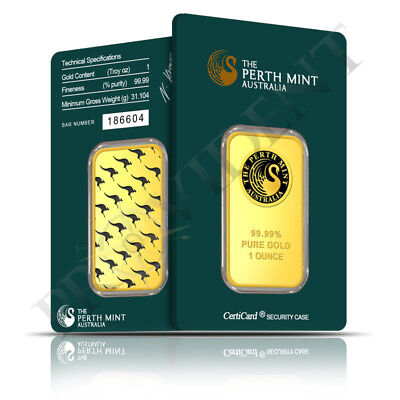 1 oz Perth Mint of Australia .9999 Fine Gold Bar - Sealed in Assay Card