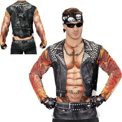 BEDRUCKTES LANGARM BIKER T-SHIRT Rocker Punker Herren Kostüm - Rocker Kostüm