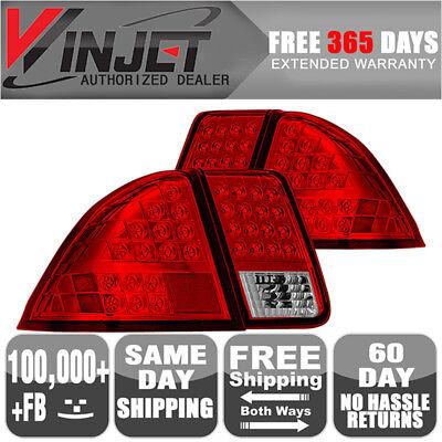 Fits 01-04 05 Honda Civic 4Dr Sedan LED Brake Tail Lights Lamps Chrome Red