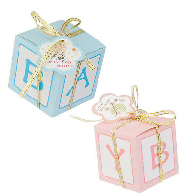 Boxes For Baby Shower Favors (12x Pink/Blue Candy Gift Boxes for Girl Boy Baby Shower Favor Birthday Decor)