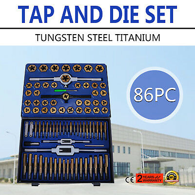 86PC Titanium Standard SAE Metric Tungsten Steel Tap And Die Tool Set Kit Top