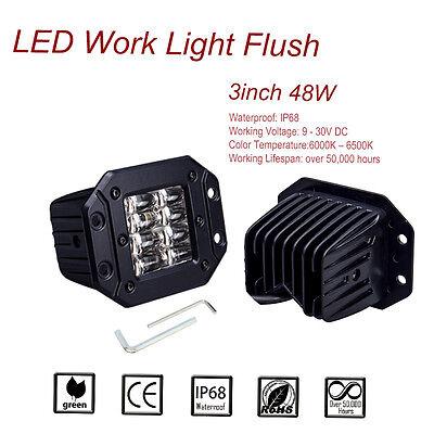2x 3Inch 48W Flush Mount CREE LED Flood Work Light Bar Pod for Jeep Mini Marine