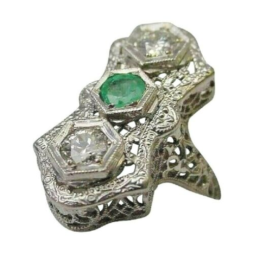 Antique 14 Karat Diamond and Emerald Filigree Ring