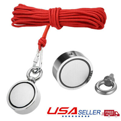 Upto 1300 Lbs Fishing Magnet Kit Pull Force Strong Neodymium Or Rope Carabiner