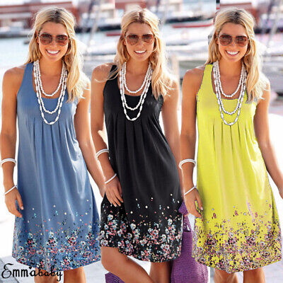 Women Summer Boho Short Maxi Dress Cocktail Evening Party Dresses Beach Sundress