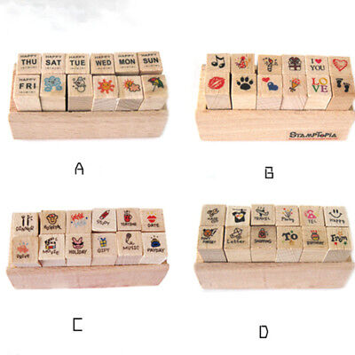 12Pcs/Set Wooden Rubber Stamps with Box DIY Photo Album Scrapbooking Seals (Wooden Stamp Set)