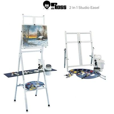 Bob Ross 2-in-1 Studio Easel Metal Four Legged Adjustable Tabletop Stand Shelf for sale  Shipping to Canada