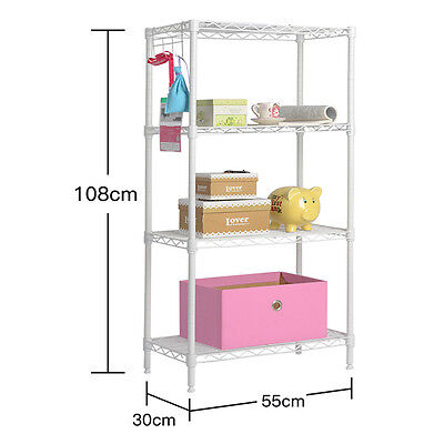 4 Tier Shelf Adjustable Steel Metal Wire Shelving Rack  Commercial Shelf White