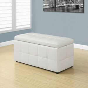 Cassidy Faux Leather Storage Ottoman - White - $200 (VANCOUVER)