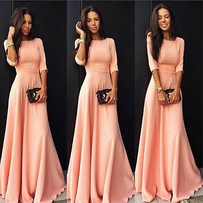 Dress - Women Formal Long Ball Gown Party Prom Cocktail Wedding Bridesmaid Evening Dress