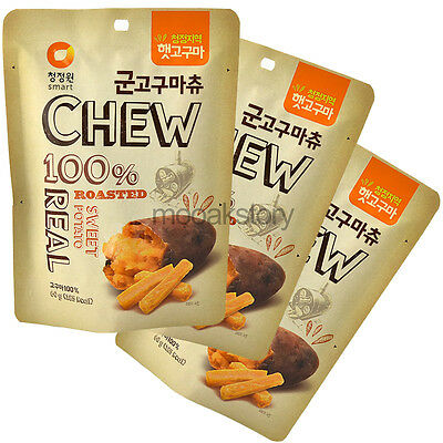 [ChungJungWon] Roasted Sweet Potato CHEW & Real Korean Food Snack 60 g × 3 ea