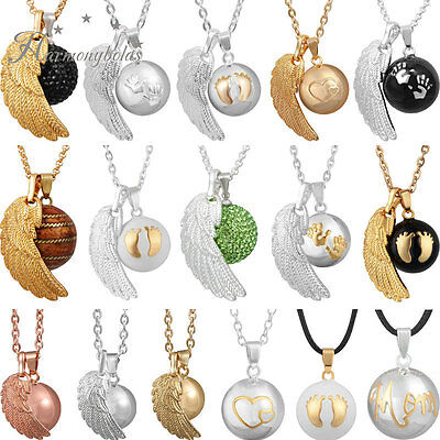 Baby shower gift angel wing harmony ball pendant necklace women dream bell 30
