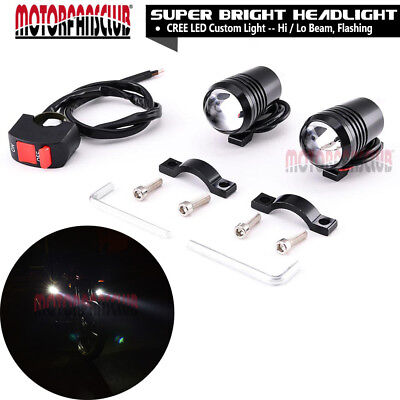 2x U1 Motorcycle light Driving Fog Light Spot Lamp CREE LED Lens 30W + Switch