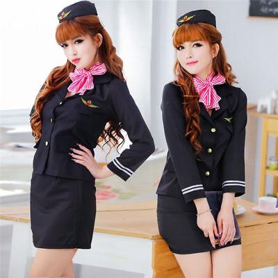 Stewardess Uniform Flight Attendant Air Hostess Costumes Halloween Fancy Dress](Flight Attendant Halloween)