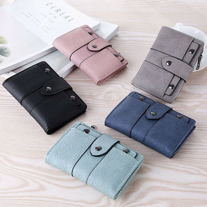 Women Short Leather Buckle Wallet Coin Purse Small Credit Card Holder Handbag Clothing, Shoes & Accessories