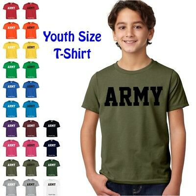 US ARMY Military PT Boys Girls Kids Child Children YOUTH FIT Tee T Shirt - Army Girls