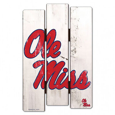 NEW - NCAA Ole Miss University of Mississippi Wood Fence Wall Hanging Decor