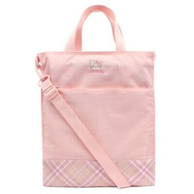 Hello Kitty Pink Check Cross Body Messenger Bag Kids Girls Cute Design