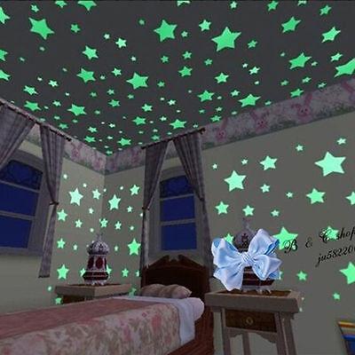 100X Luminous Big Stars Fluorescent Stickers 3D Glow In The Dark Wall Stick UE