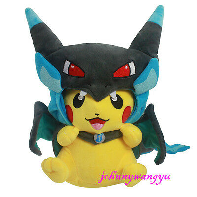 New Pokemon Pikachu With X Charizard hat Plush Soft Toy Stuffed Animal Doll 9''