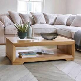 Solid oak coffee table from oak furniture land bevel range