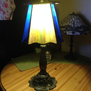 Pair of lamps, tri-light, stained glass