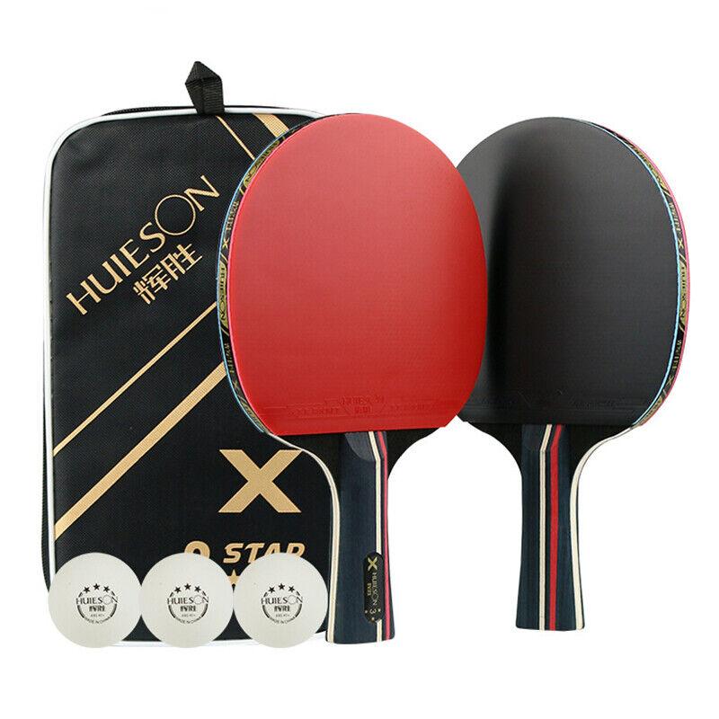 7 Ply Pure Wood Table Tennis Racket Set Ping Pong Paddle Bat W/ 3 Training Balls