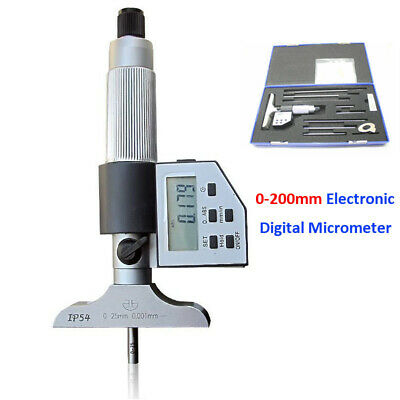 0-8 Digital Electronic Depth Micrometer Set 0-200mm Gauge Carbide Lcd Display