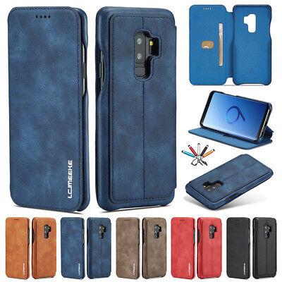 Galaxy-leder Etui (Handyhülle Flip Case Leder Wallet Etui Tasche für Samsung Galaxy S9 Plus Note 9)