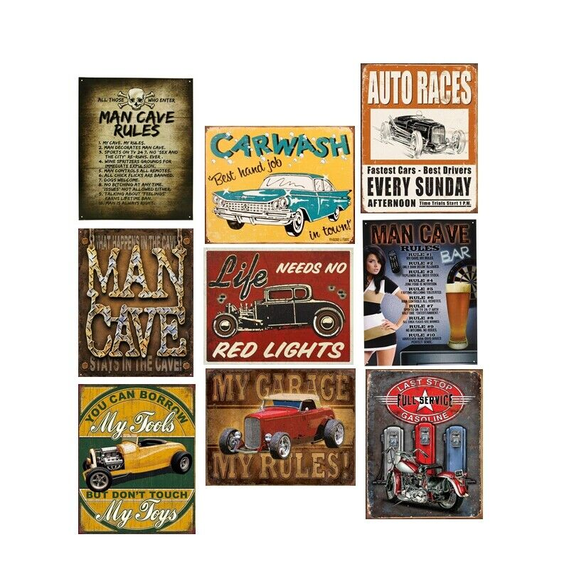 Fisher Man/'s Rules Vintage Metal Tin Signs Retro Plate Art Wall Decor