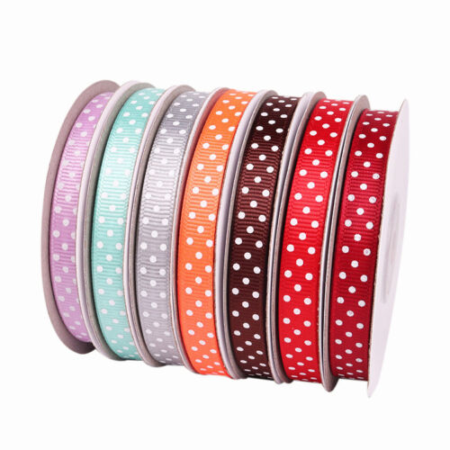 "как выглядит 25 yards Reel Polka Dot Grosgrain Ribbon 10mm 3/8"" width Single Side Ribbon фото"