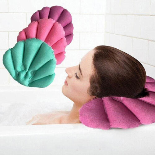 """Suction Cups Neck Support 6.5/"""" x 11/"""" Bath Pillow Hot Tub Pool White SOFT"""