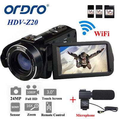 Ordro FHD HDV-Z20 Digital Video Camcorder 1080P@ 30fps Wifi Camcorder+Microphone 30fps Digital Video