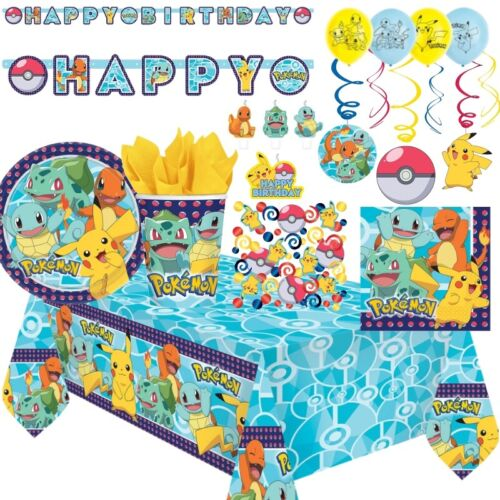 Pokemon Pikachu Party Tableware, Decorations and Balloons