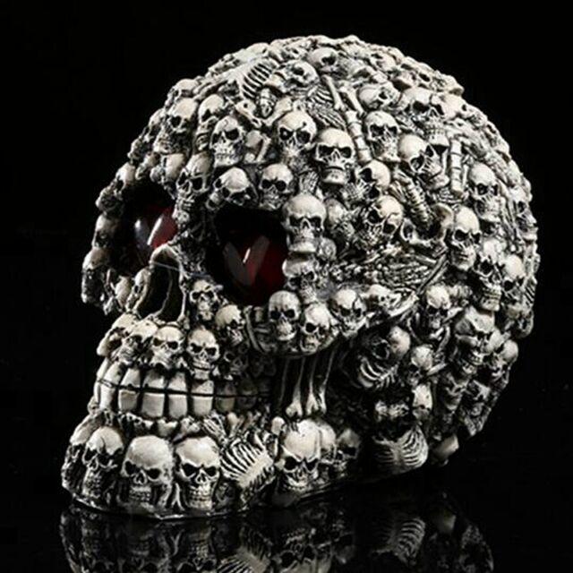 LED Homosapiens Skull Statue Figurine Human Shaped Skeleton Head Halloween Decor