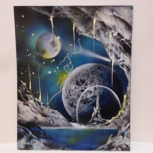 "'FUTURISTIC PLANETS"" ORIG. SIGNED PAINTINGS - 3 PCS @ $100. EACH"
