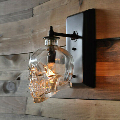 Industrial Style Skull Clear Glass Shade Wall Sconce & Hanging Pendant Lamp Clear Glass Chandelier Shade