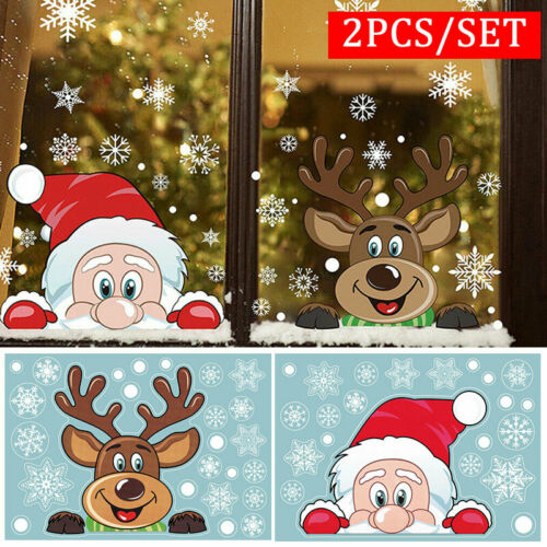 Home Decoration - Removable Christmas Xmas Santa Window Stickers Art Decals Wall Home Shop Decor