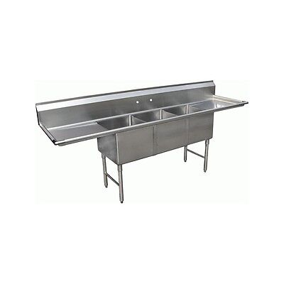 3 Compartment Stainless Steel Sink 18x18 2 Drainboard