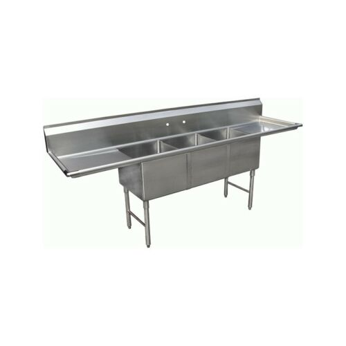 "3 Compartment Stainless Steel Sink 18""x18"" 2 Drainboard"